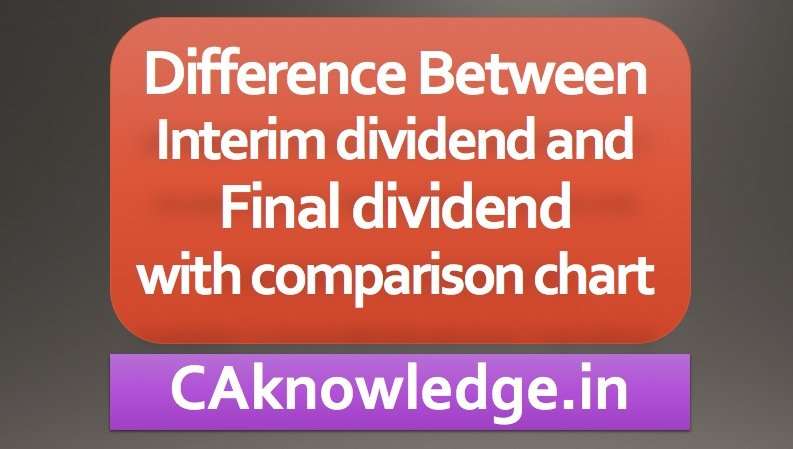Difference Between Interim dividend and Final dividend
