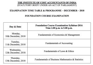 CMA Foundation Time Table Dec 2018