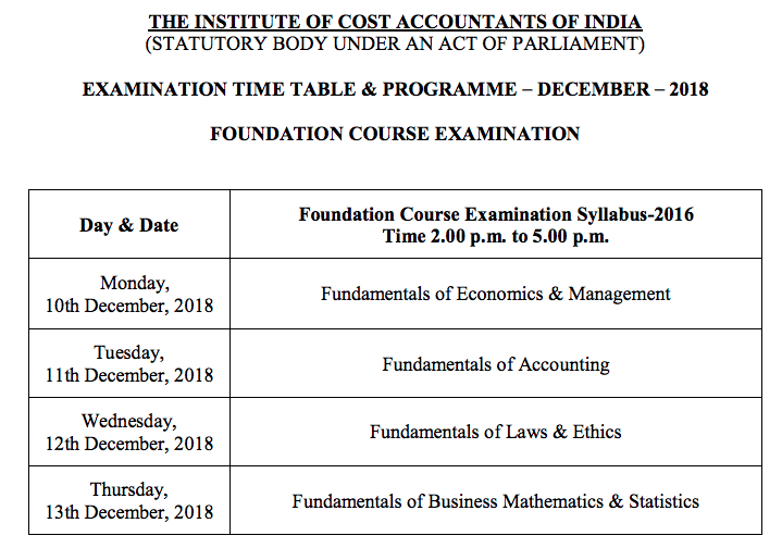 CMA Foundation Time Table Dec 2018