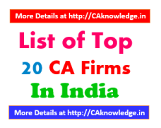 List of top 20 CA Firms in India CAknowledge.in