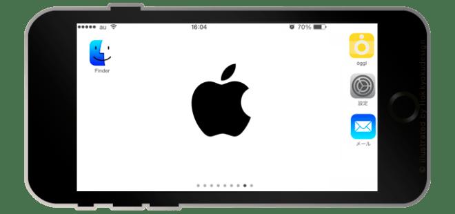 iPhone6 Plus ランドスケープモード、ドックが消える壁紙・アップルマーク