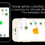 iOS8対応ドックが消える壁紙「Snow white colorful Apple wallpaper」リリースしました・iPhone6とiPhone6Plus対応