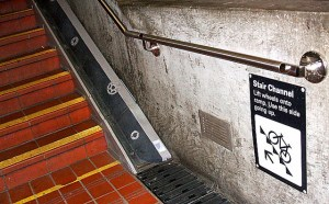 BART 16th Street San Francisco station stair channel for bikes. Photo via Jym Dyer Flickr