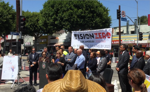 Reynolds speaks at Monday's press conference announcing the City of Los Angeles' commitment to Vision Zero. Photo: LADOT