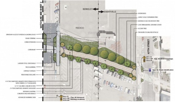 The city of Berkeley will be able to complete its Ninth Street bike path with funding from the Active Transportation Program. Image: Alta Planning