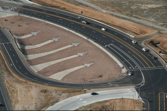 Such a beautiful site! This freeway interchange pays tribute to the nearby Air Force base. Image: Falcon Engineering Services