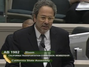 Asm. Richard Bloom testifying at the Assembly Transportation Commitee. Image: Screengrab from CA TV