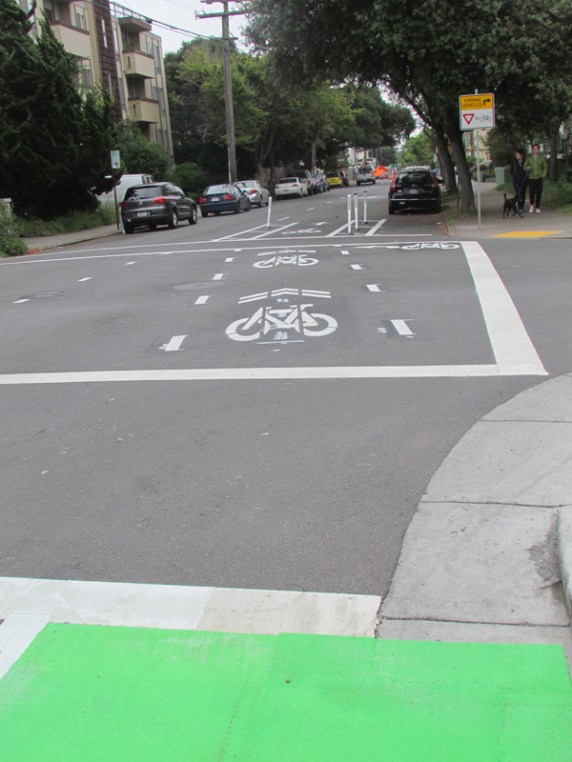 Berkeley: The Fulton Street lanes end after two blocks, sending bikes back out to share the less-hectic lanes just south of where February's crash happened. It's back to reality, folks, with a taste of what could be done. Photo: Melanie Curry/Streetsblog