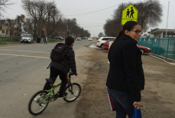 Students often have to walk or ride their bikes to school along dirt to get to Tipton Elementary School District. Tulare County applied for and ATP grant to build a sidewalk on Evans Road. Photo courtesy County of Tulare