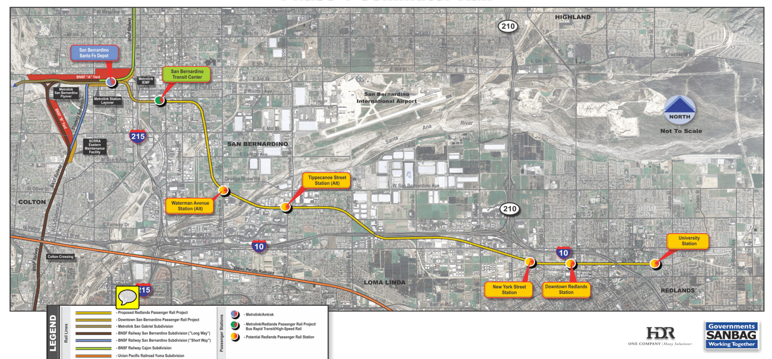 Map of the Redlands Passenger Rail Project. For more information, click ##http://www.sanbag.ca.gov/projects/redlands-sb-rail/RPRPFactSheetFebruary262014FINAL_000.pdf##here.## (PDF)