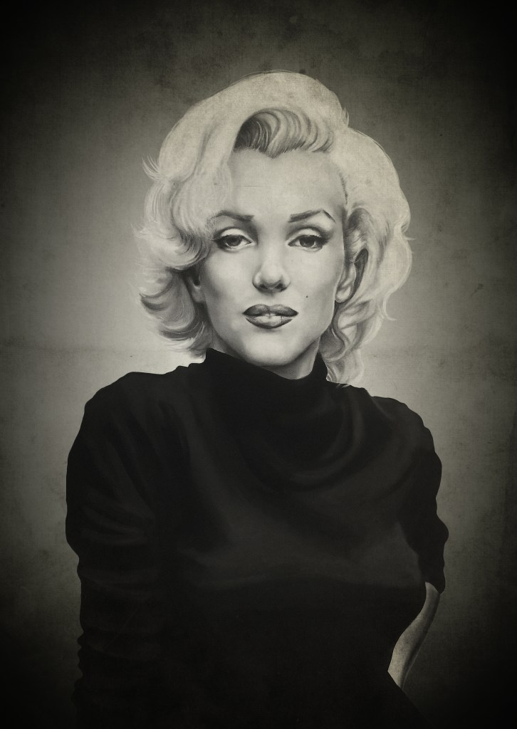 marilyn monroe || 2014 || charcoal & acrylic on illustration board, background texture in photoshop CC