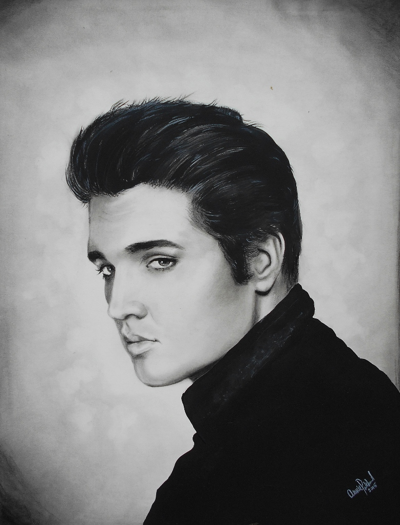 Elvis || 2015 || charcoal & acrylic on illustration board