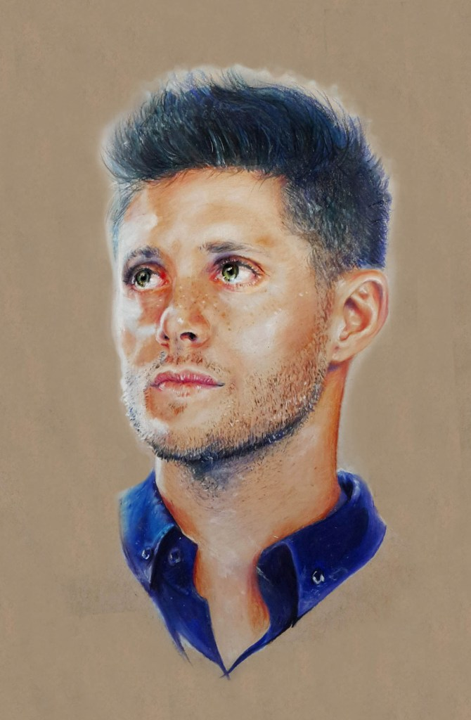 jensen ackles in blue || 2014 || prisma pencils on tan paper