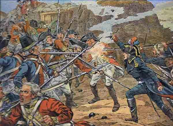 Napoléon officier d'artillerie à Toulon, chargeant les Anglais en compagnie des fantassins (Source image : calanco.fr).
