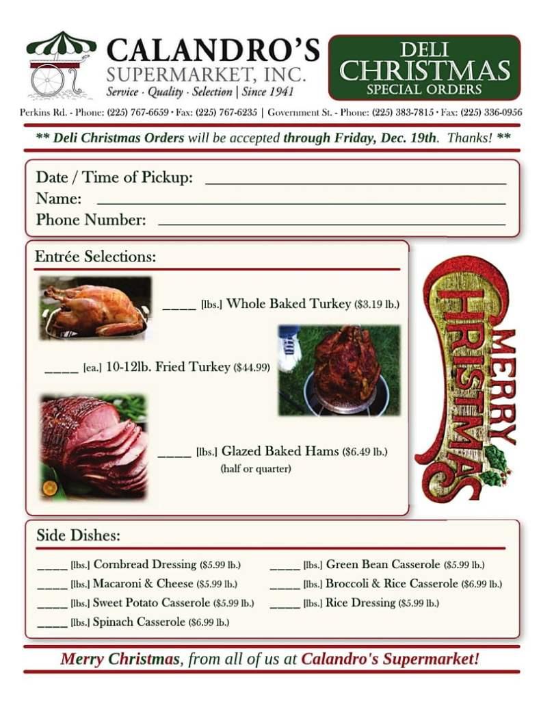 Calandro's Deli Christmas Special Order Form 20141208+1