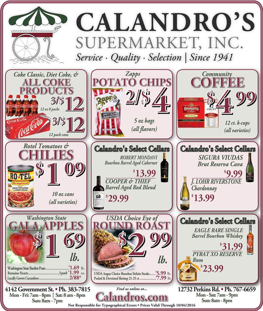 Check out the Weekly Deals @ Calandro's for 9/29/2016