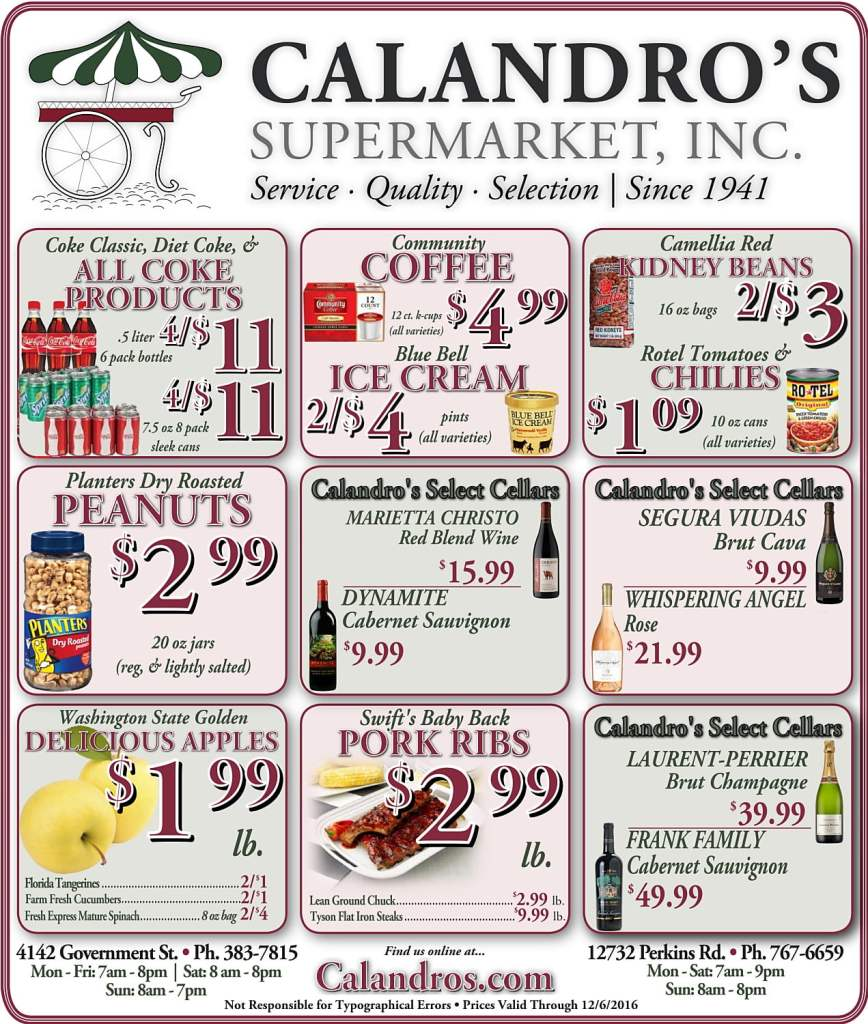 Come by and check out the Weekly Deals @ Calandro's for 12/1/2016