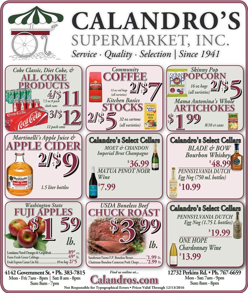 Come by and check out the Weekly Deals @ Calandro's for 12/8/2016