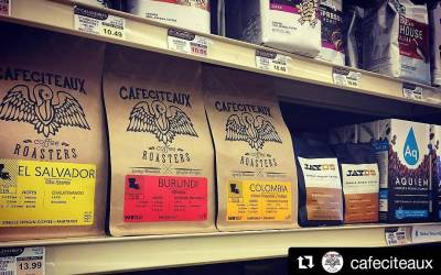 Fresh @cafeciteaux & @hugjayd #coffee on the shelf y'all! #freshfreshfresh #ohsofresh #supafresh #local #wakeupyo #grocery…
