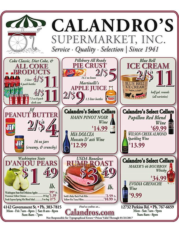 Amazing Weekly Deals @ Calandro's this week (01/19 thru 1/24/2017)!