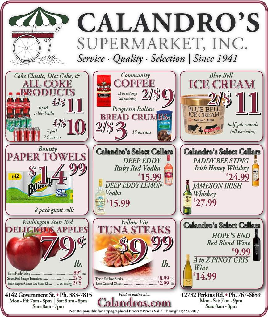 Amazing Weekly Deals @ Calandro's this week (03/16)!