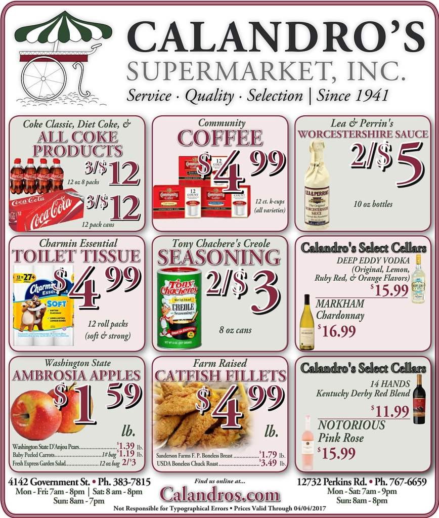 Amazing Weekly Deals @ Calandro's this week (03/30)!