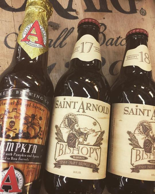 @averybrewingco Rumpkin and @saintarnoldbrewing Bishop's Barrel 17 and 18 are now available at our Perkins…