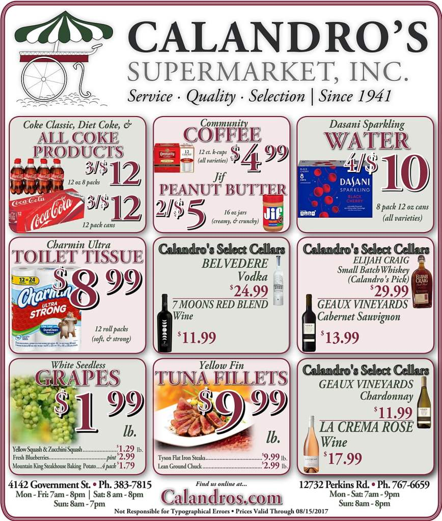 Amazing Weekly Deals @ Calandro's this week (08/10)!