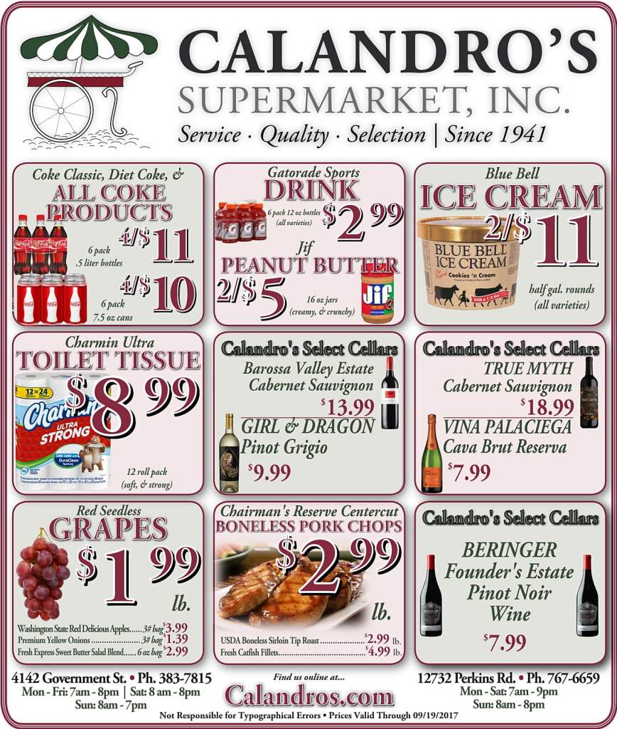 Amazing Weekly Deals @ Calandro's this week (09/14)!
