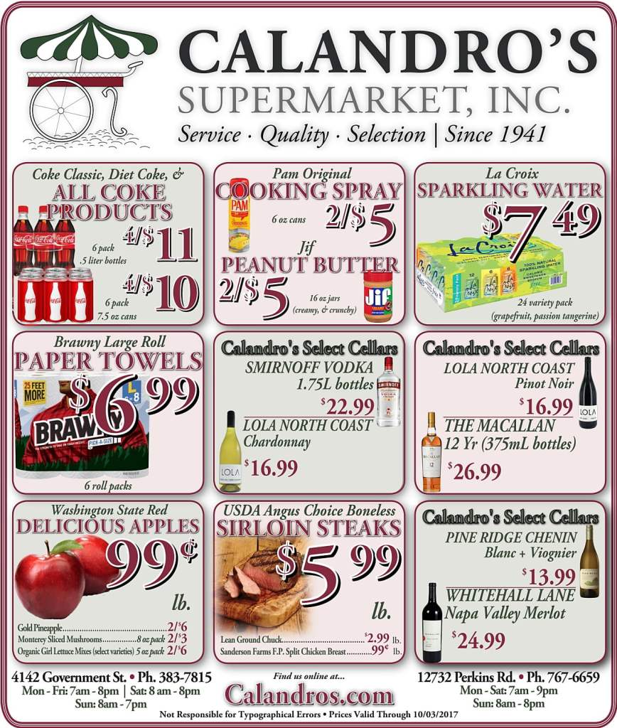 Amazing Weekly Deals @ Calandro's this week (09/28)!