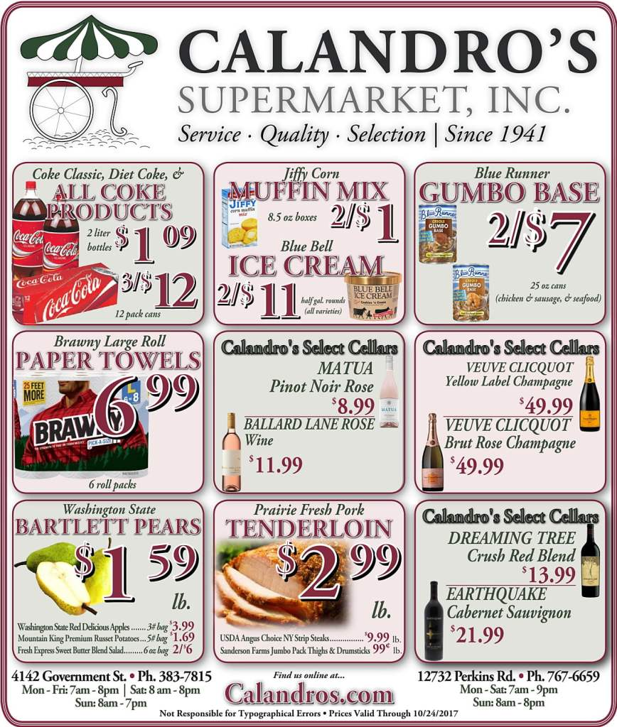 Amazing Weekly Deals @ Calandro's this week (10/19)!