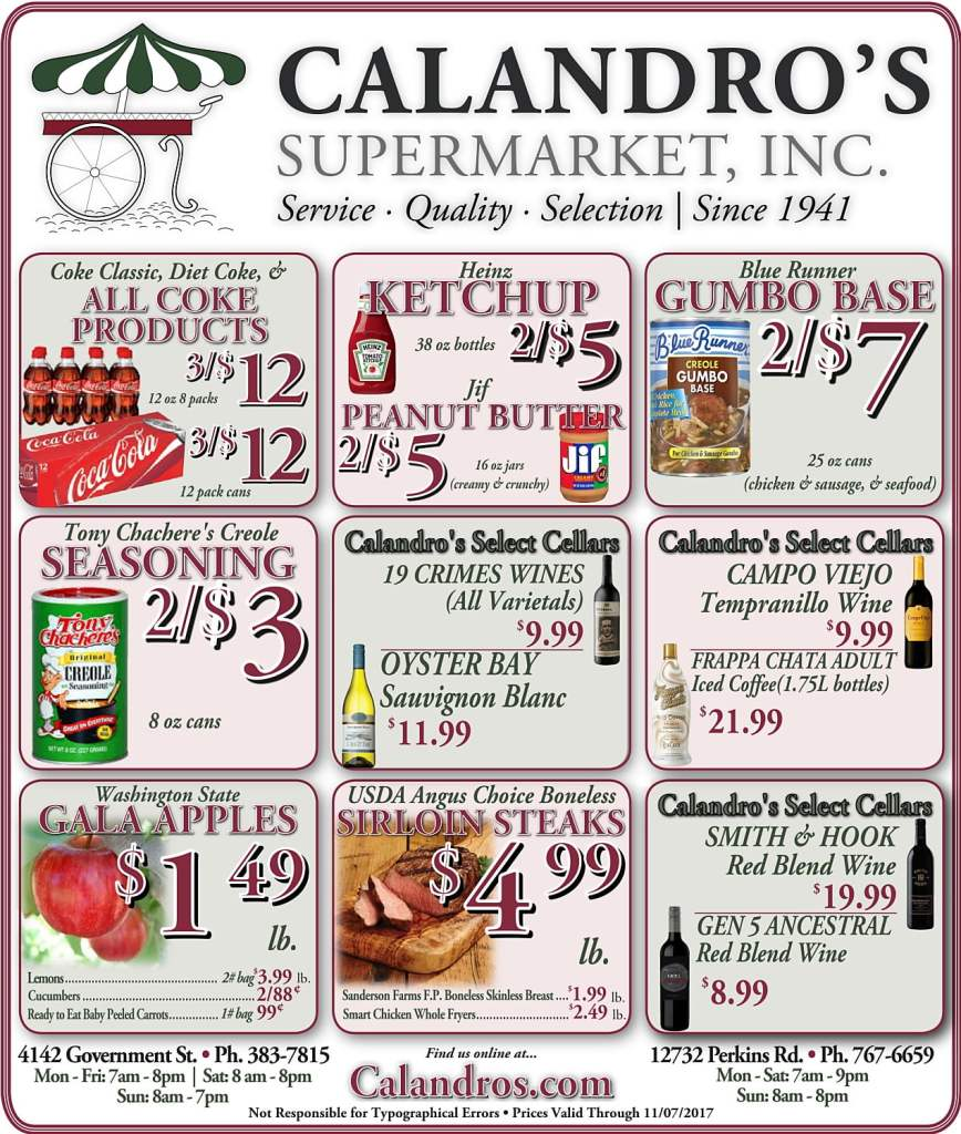 Amazing Weekly Deals @ Calandro's this week (11/02)!