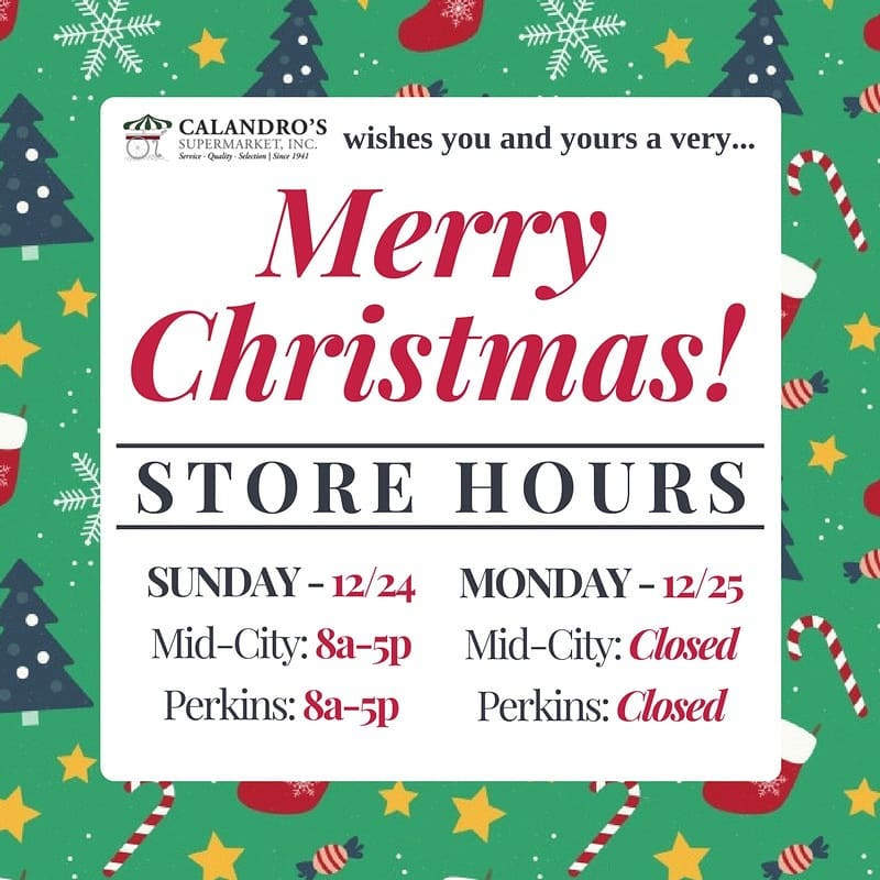 calandros christmas hours for both locations 5pm early close on christmaseve closed all - Christmas Eve Store Hours