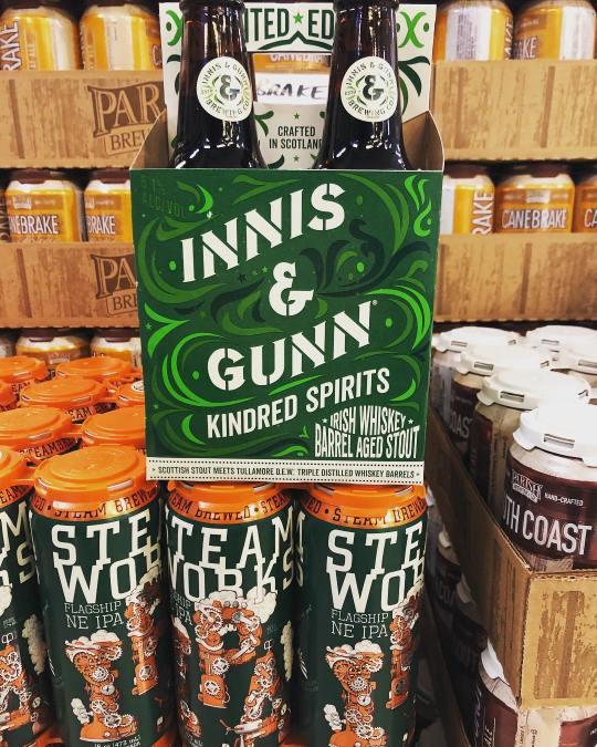 @innisandgunnusa Kindred Spirit stout aged in Irish whiskey barrels and @steamworksbrewing New England IPA is…