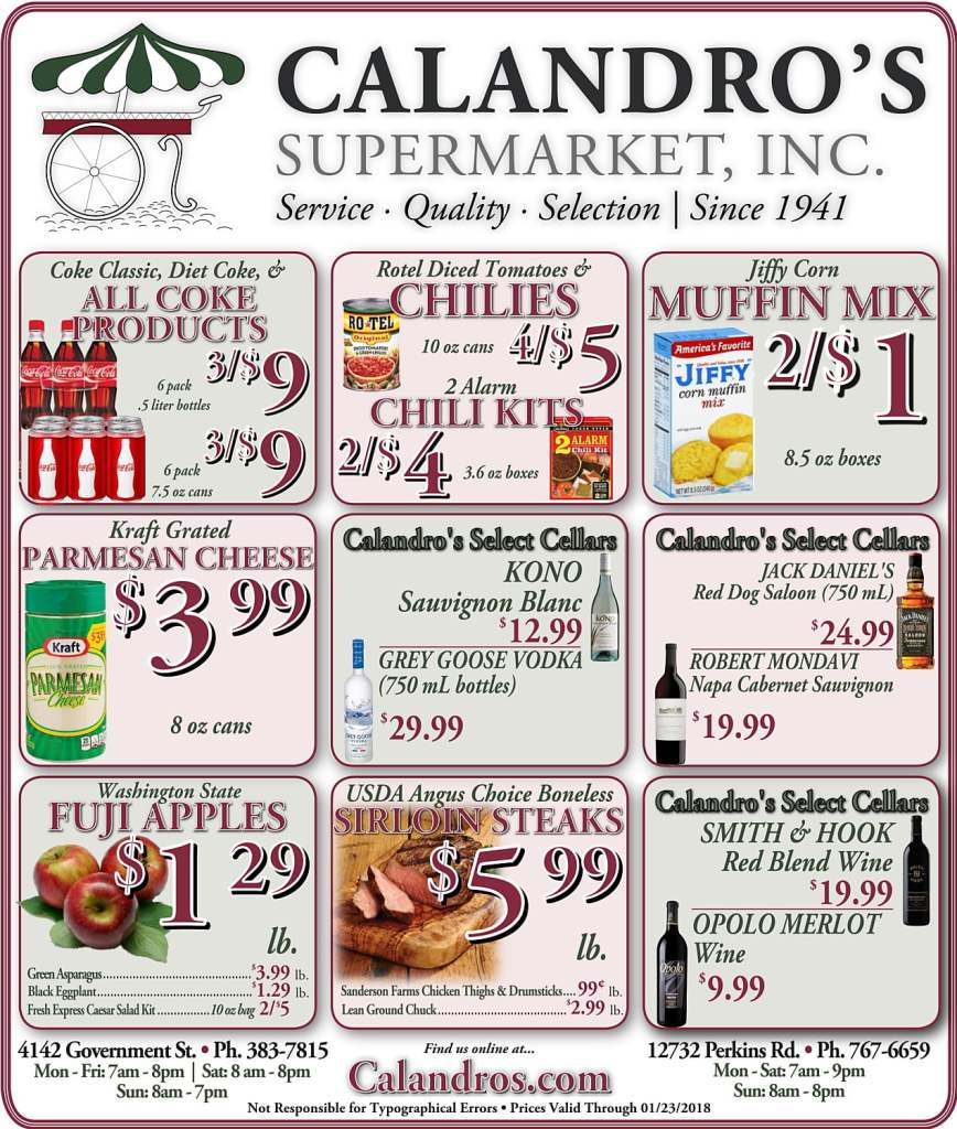 Amazing Weekly Deals @ Calandro's this week (01/18)!