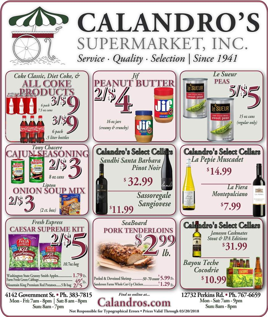 Amazing Weekly Deals @ Calandro's this week (03/15)