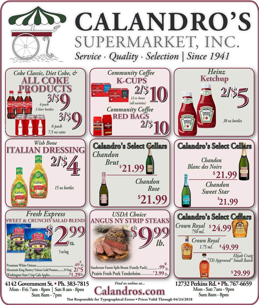 Amazing Weekly Deals @ Calandro's this week (04/19)