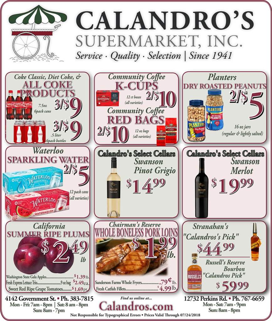 Amazing Weekly Deals @ Calandro's this week (07/19)