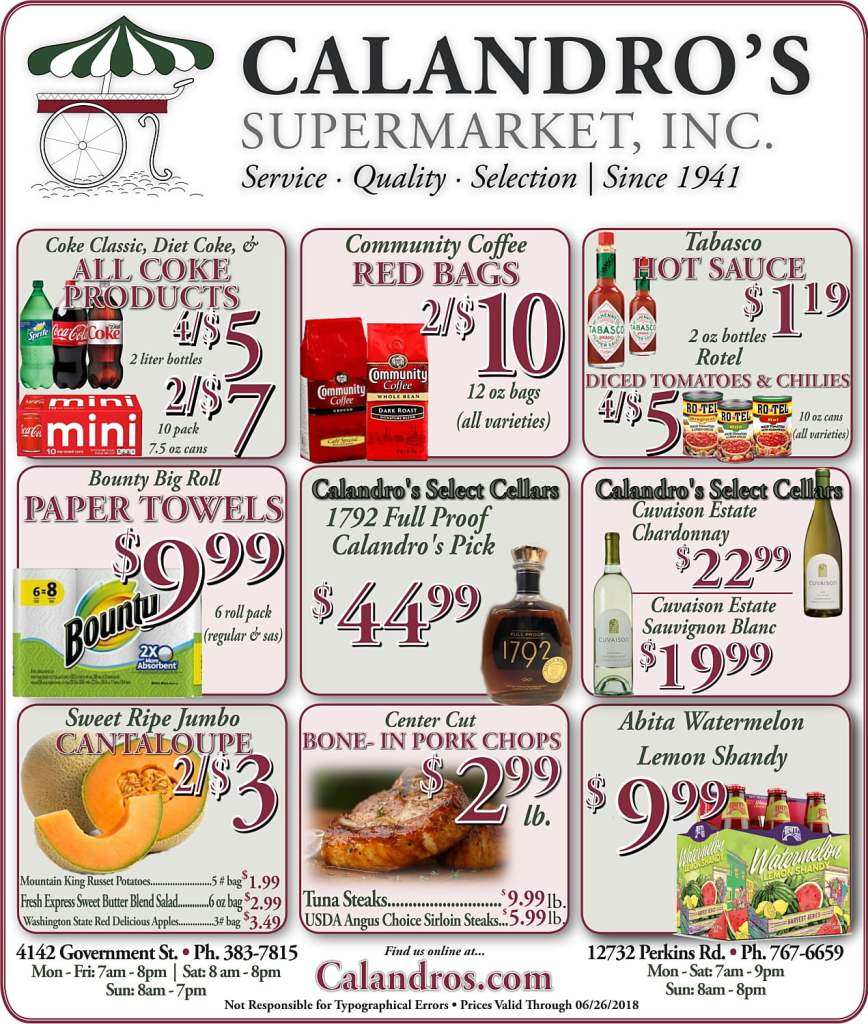 Amazing Weekly Deals @ Calandro's this week (06/21)