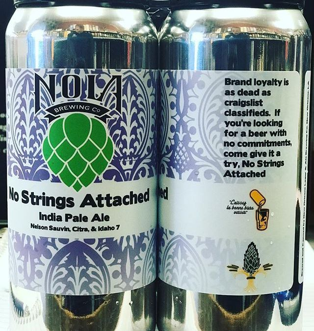 @nolabrewing No Strings Attached has landed at the Mid-City location! This 7.3 abv #IPA is…