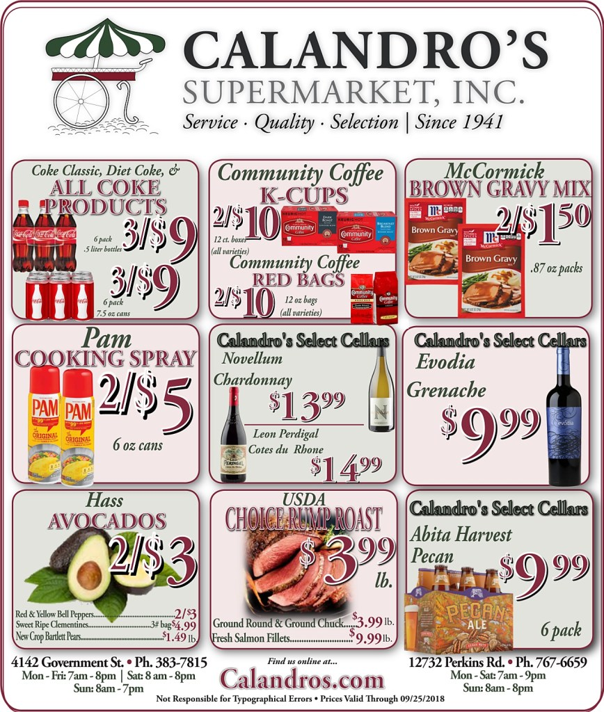 Amazing Weekly Deals @ Calandro's this week (09/20)