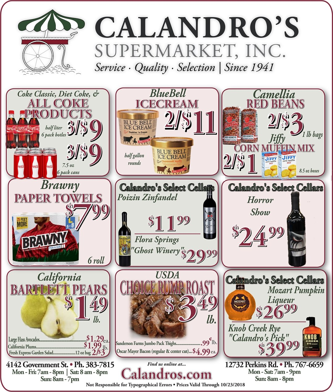 Amazing Weekly Deals @ Calandro's this week (10/18/2018)