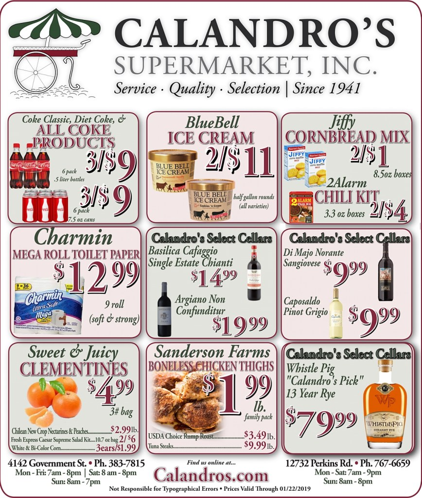 REVISED AD!!! Amazing Weekly Deals @ Calandro's this week (01/17/2019)