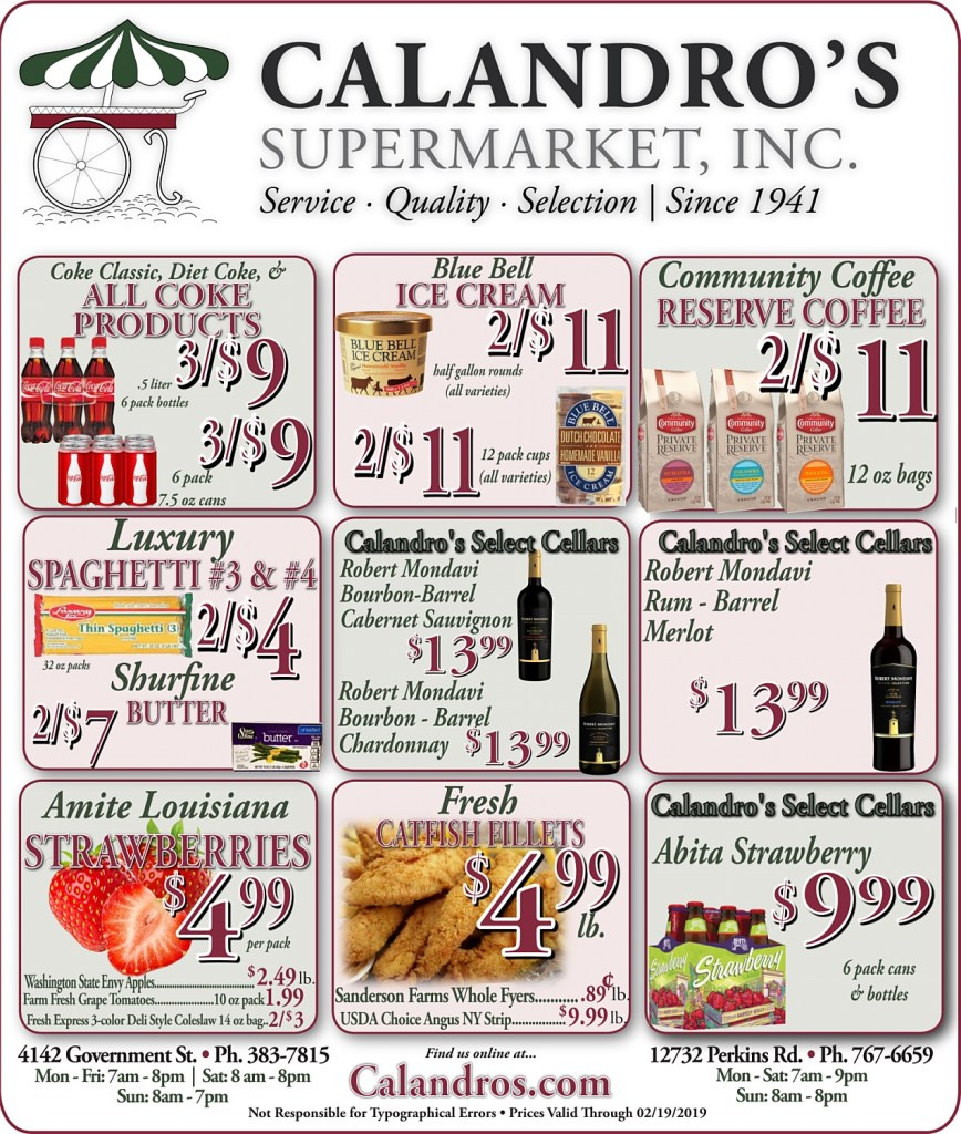 Amazing Weekly Deals @ Calandro's this week (02/14/2019)