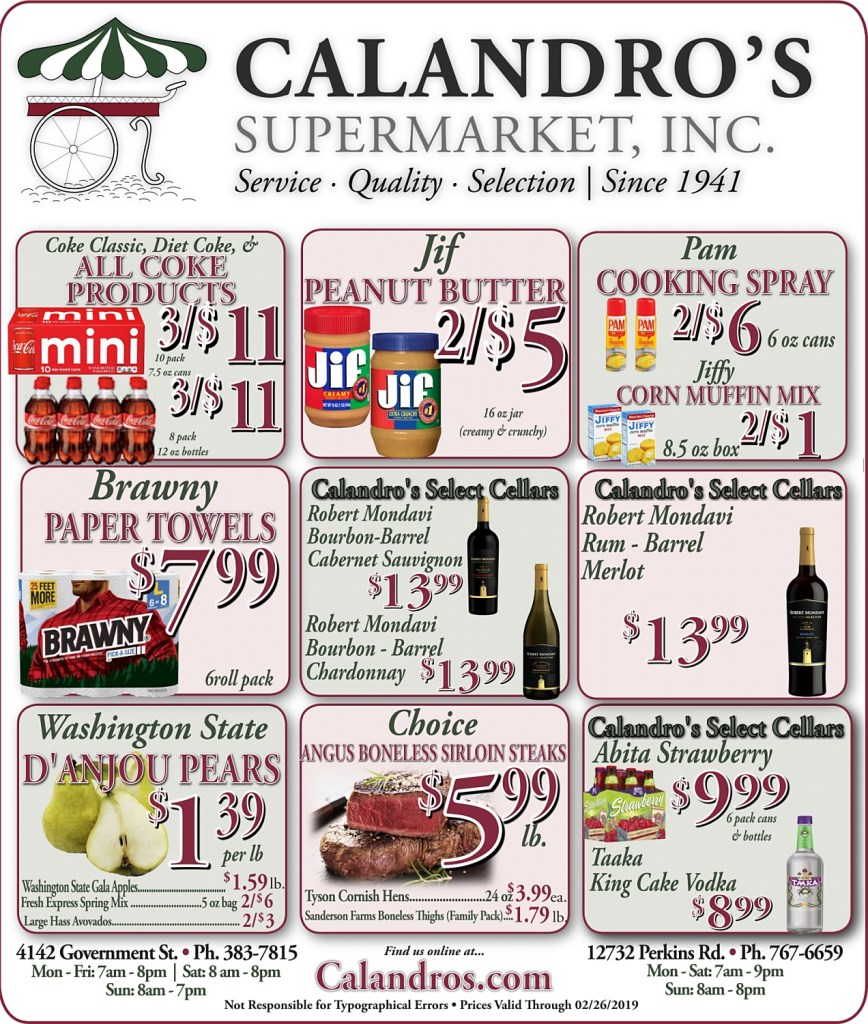 Amazing Weekly Deals @ Calandro's this week (02/21/2019)
