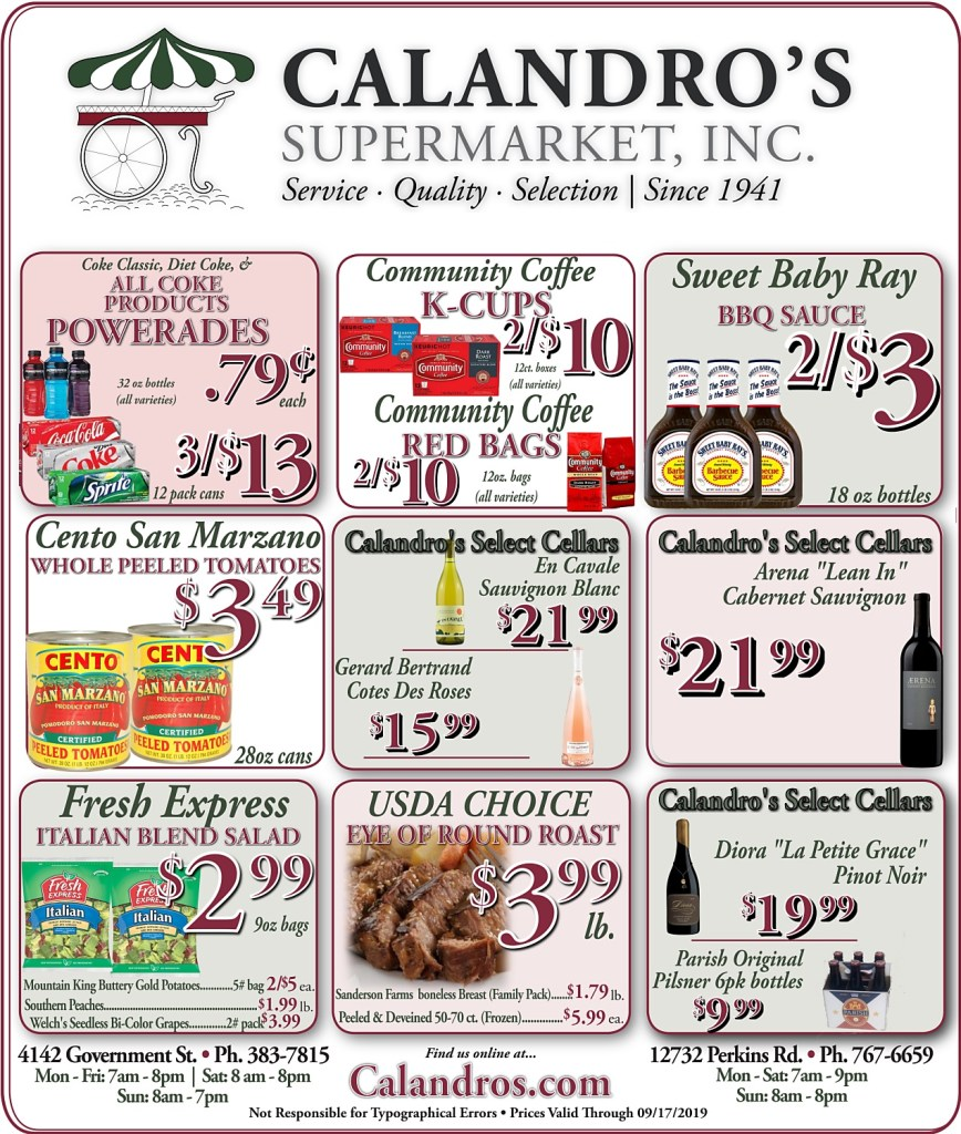 Amazing Weekly Deals @ Calandro's this week (09/19/2019)