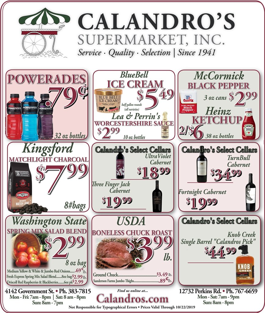 Amazing Weekly Deals @ Calandro's this week (10/17/2019)