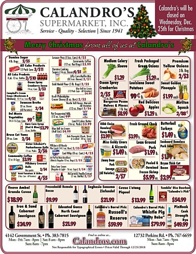 Amazing Weekly Deals @ Calandro's this week (12/12/2019)