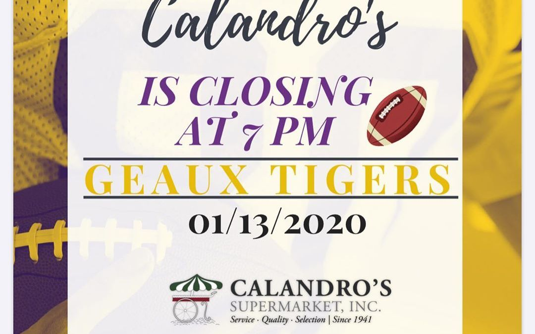 Both the Government St. and Perkins Rd. locations will be closing at 7 pm. Geaux…