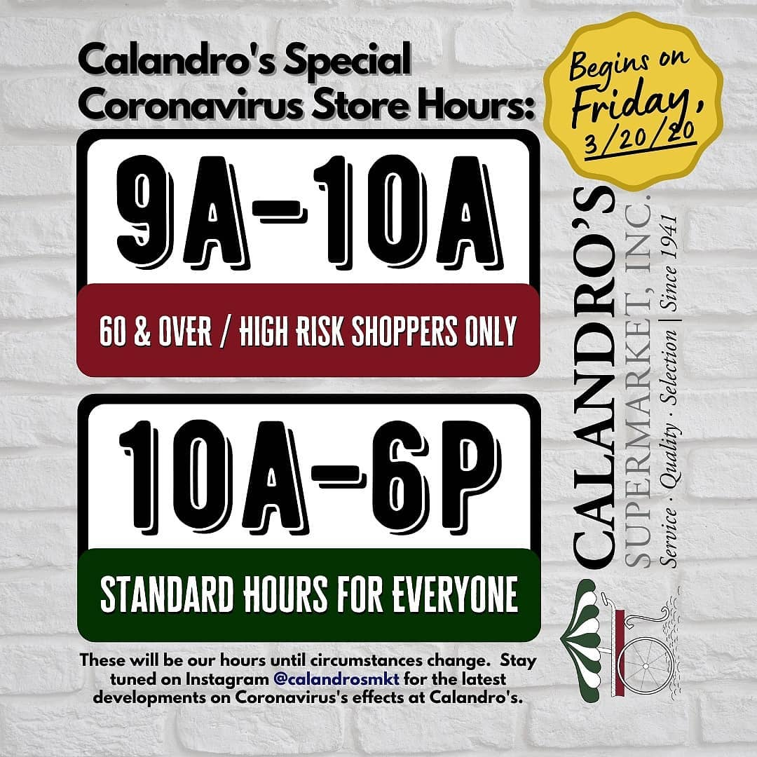 ICYMI: Just a friendly reminder about our new hours at both Calandro's locations for the…
